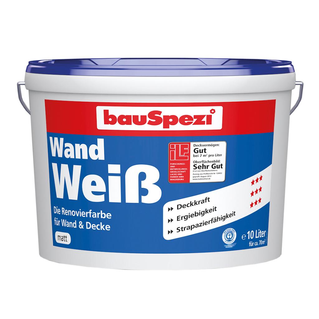 bauSpezi Wand Weiß Renovierfarbe für Wand & Decke